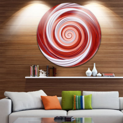 Design Art Christmas Candy Cane Spiral Abstract Round Circle Metal Wall Art