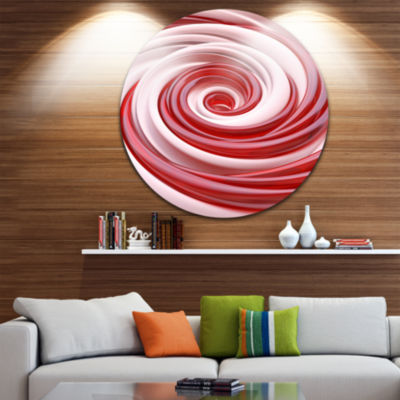 Design Art Beautiful Candy Cane Spiral Abstract Round Circle Metal Wall Art