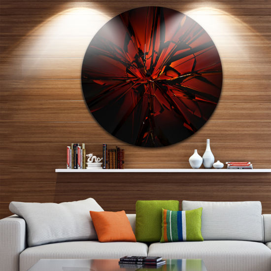 Design Art Beautiful Red 3D Crystal Design Abstract Round Circle Metal Wall Art