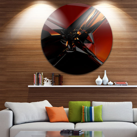 Design Art 3D Abstract Red Glass Design Abstract Round Circle Metal Wall Art