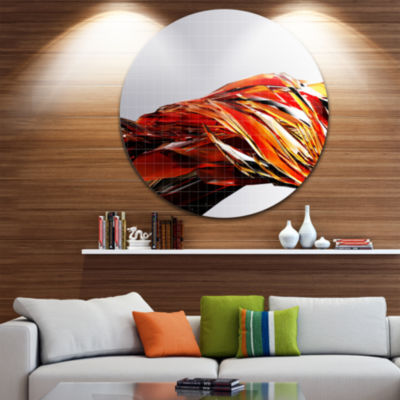 Design Art Red Faceted Crystal Texture Abstract Round Circle Metal Wall Art