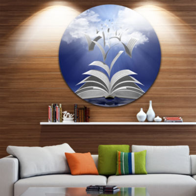 Design Art Book Pages Skyward Abstract Round Circle Metal Wall Art
