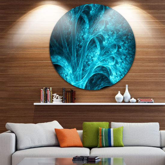 Design Art Magical Blue Psychedelic Forest Abstract Round Circle Metal Wall Art