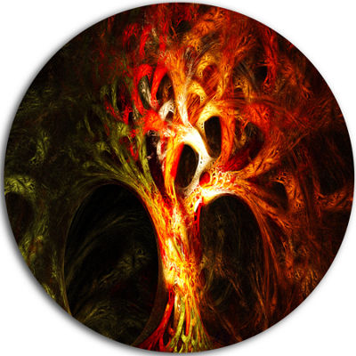 Design Art Magical Orange Psychedelic Tree Abstract Round Circle Metal Wall Art