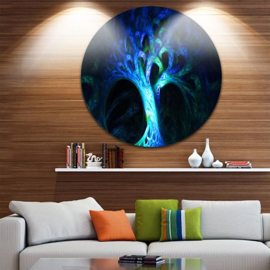Design Art Magical Blue Psychedelic Tree AbstractRound Circle Metal Wall Art