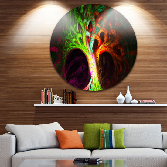 Design Art Magical Green Psychedelic Tree AbstractArt on Round Circle Metal Wall Art Panel