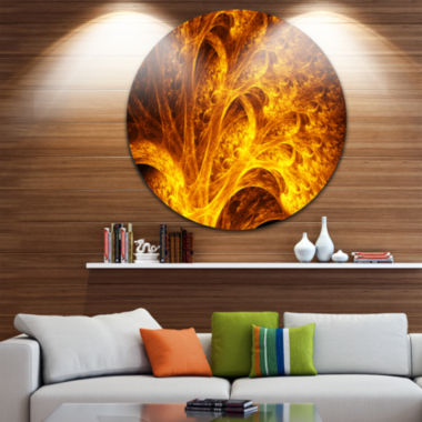 Design Art Magical Yellow Psychedelic Tree Abstract Art on Round Circle Metal Wall Art Panel