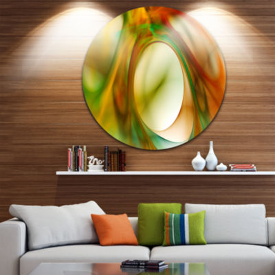 Design Art Circled Green Psychedelic Texture Abstract Art on Round Circle Metal Wall Art Panel