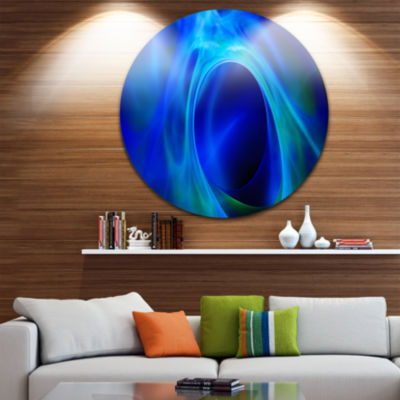 Design Art Circled Blue Psychedelic Texture Abstract Art on Round Circle Metal Wall Art Panel