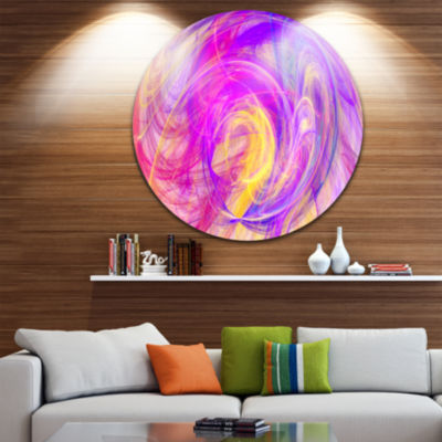 Design Art Purple Mystic Psychedelic Texture Abstract Art on Round Circle Metal Wall Art Panel