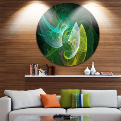 Design Art Green Mystic Psychedelic Texture Abstract Art on Round Circle Metal Wall Art Panel