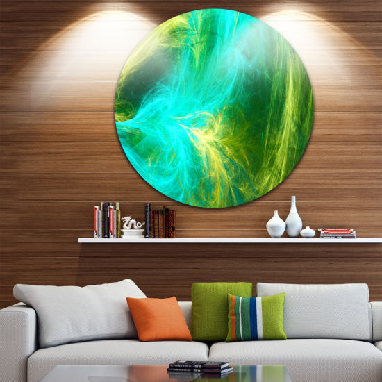 Design Art Green Mystic Psychedelic Design Abstract Art on Round Circle Metal Wall Art Panel