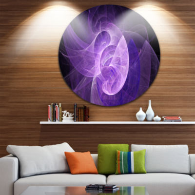 Design Art Purple Mystic Psychedelic Design Abstract Art on Round Circle Metal Wall Art Panel