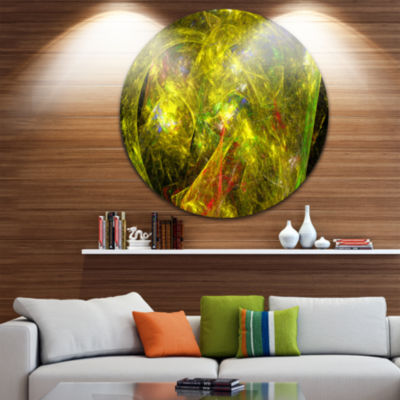 Design Art Golden Mystic Psychedelic Texture Abstract Art on Round Circle Metal Wall Art Panel