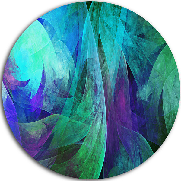 Design Art Green Fractal Abstract Pattern AbstractArt on Round Circle Metal Wall Art Panel