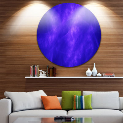 Design Art Blue Fractal Abstract Pattern AbstractArt on Round Circle Metal Wall Art Panel