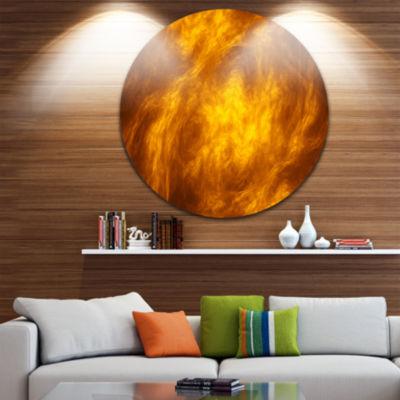 Design Art Brown Fractal Abstract Pattern AbstractArt on Round Circle Metal Wall Art Panel
