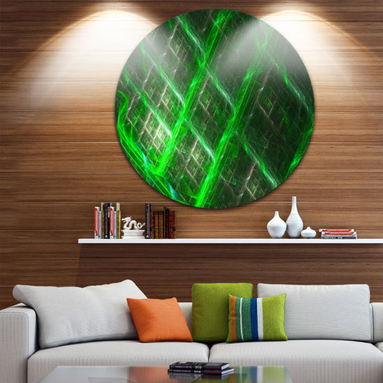 Design Art Green Abstract Round Metal Grill Abstract Art on Round Circle Metal Wall Art Panel