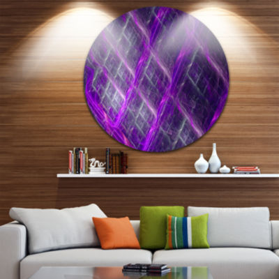Design Art Purple Abstract Round Metal Grill Abstract Art on Round Circle Metal Wall Art Panel
