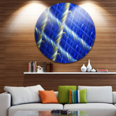 Design Art Blue Abstract Round Metal Grill Abstract Art on Round Circle Metal Wall Art Panel