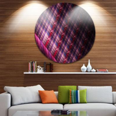 Design Art Dark Pink Abstract Round Metal Grill Abstract Art on Round Circle Metal Wall Art Panel