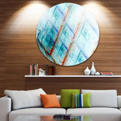 Design Art Light Blue Round Metal Grill Abstract Art on Round Circle Metal Wall Art Panel