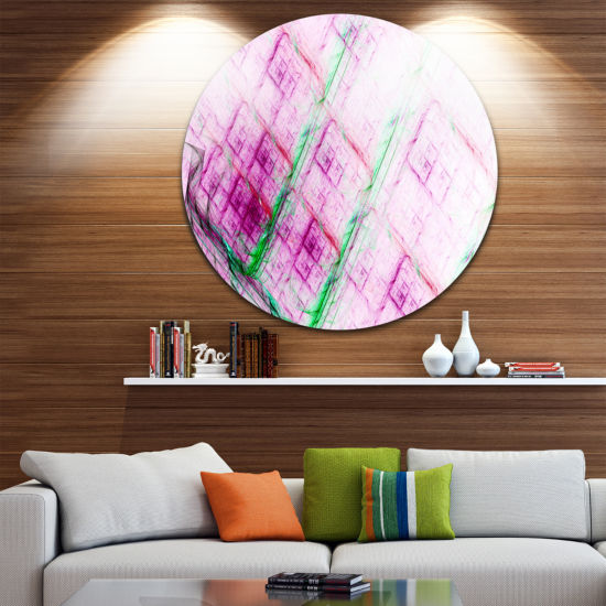 Design Art Purple Fractal Grill Pattern Abstract Art on Round Circle Metal Wall Art Panel