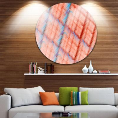Design Art Red Fractal Grill Pattern Abstract Arton Round Circle Metal Wall Art Panel