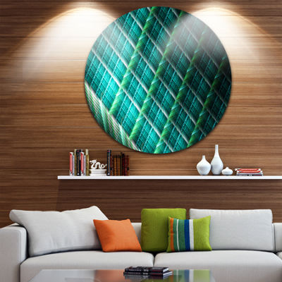 Design Art Green Fractal Grill Pattern Abstract Art on Round Circle Metal Wall Art Panel