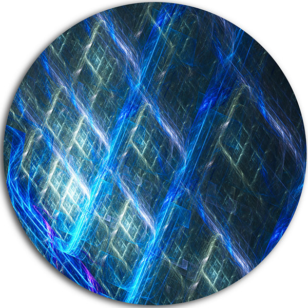 Design Art Glowing Blue Fractal Grill Abstract Arton Round Circle Metal Wall Art Panel