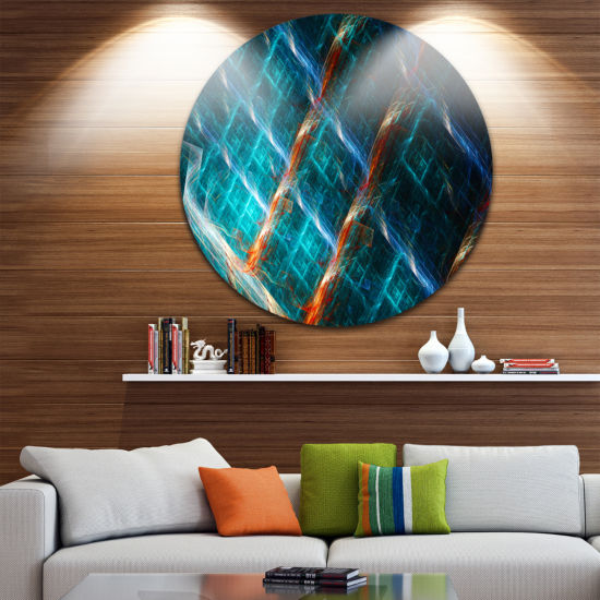 Design Art Glowing Green Fractal Grill Abstract Art on Round Circle Metal Wall Art Panel
