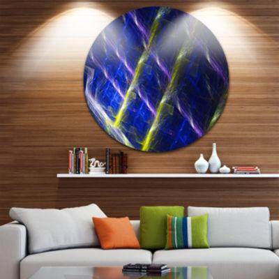Design Art Dark Blue Fractal Grill Abstract Art onRound Circle Metal Wall Art Panel