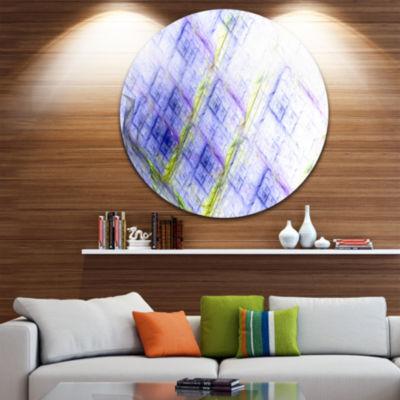 Design Art Light Blue Fractal Grill Abstract Art on Round Circle Metal Wall Art Panel