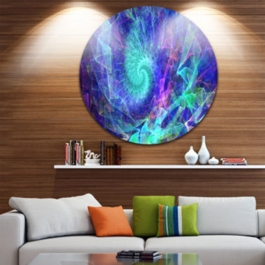 Design Art Blue Spiral Kaleidoscope Abstract RoundCircle Metal Wall Art Panel