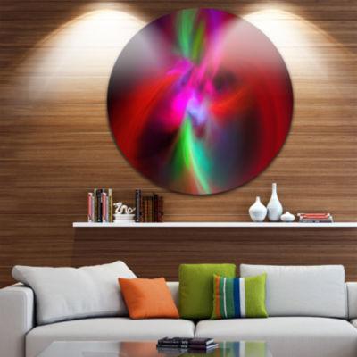 Design Art Red Spiral Kaleidoscope Abstract RoundCircle Metal Wall Art Panel