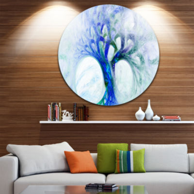 Design Art Blue Mystic Psychedelic Tree Abstract Round Circle Metal Wall Art Panel