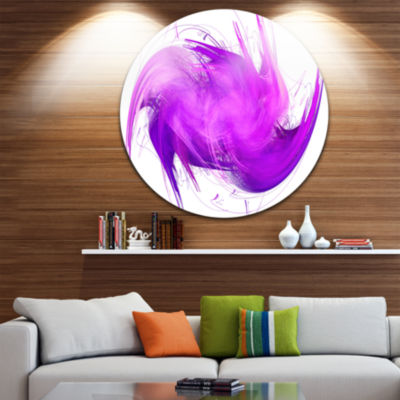 Design Art Abstract Purple Fractal Pattern Abstract Round Circle Metal Wall Art Panel