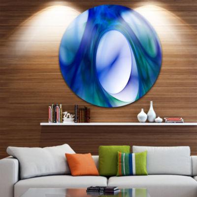 Design Art Mystic Blue Fractal Abstract Round Circle Metal Wall Art Panel
