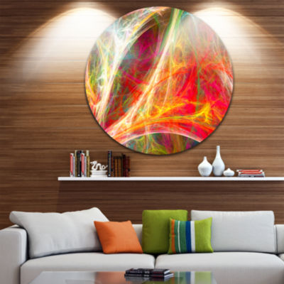 Design Art Mystic Red Fractal Abstract Round Circle Metal Wall Art Panel