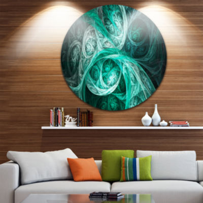 Design Art Mystic Turquoise Fractal Abstract RoundCircle Metal Wall Art Panel