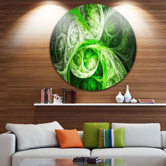 Design Art Mystic Green Fractal Abstract Round Circle Metal Wall Art