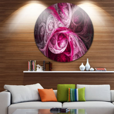 Design Art Mystic Pink Fractal Abstract Round Circle Metal Wall Art Panel