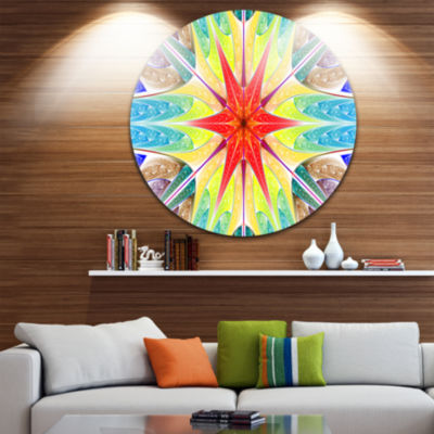 Design Art Beautiful Colorful Stained Glass Abstract Round Circle Metal Wall Art Panel