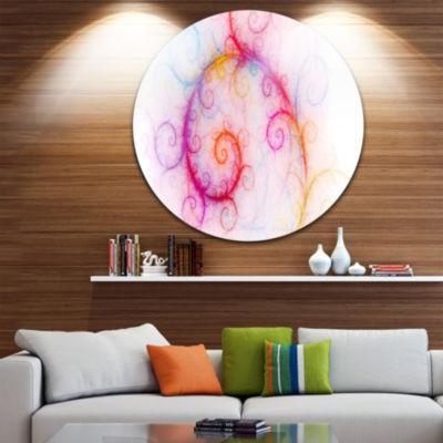 Design Art Beautiful Pink Fractal Pattern AbstractRound Circle Metal Wall Art Panel