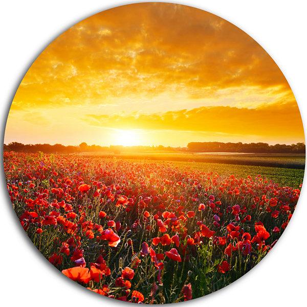 Design Art Poppy Field under Ablaze Sunset Abstract Round Circle ...