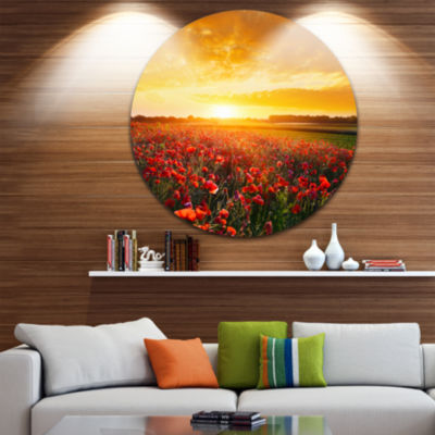 Design Art Poppy Field under Ablaze Sunset Abstract Round Circle Metal Wall Art Panel