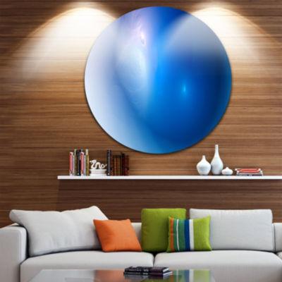 Design Art Mysterious Blue Fractal Texture Abstract Round Circle Metal Wall Art Panel