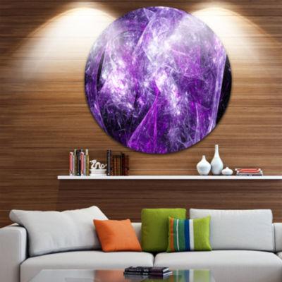 Design Art Mystic Purple Fractal Abstract Round Circle Metal Wall Art Panel