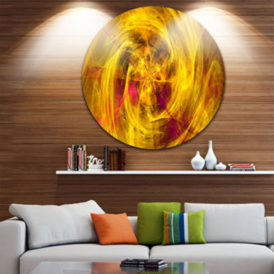 Design Art Mystic Golden Fractal Abstract Round Circle Metal Wall Art Panel