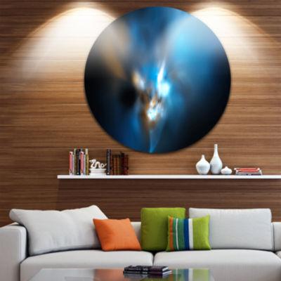 Design Art Mystic Green Fractal Abstract Round Circle Metal Wall Art Panel